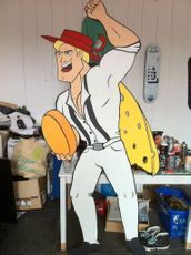 Cartoon ontwerp - Super Cheese Man! voor Podium Atlantis (Victorie)